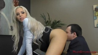 Boss Nina Elle Makes Her Employee Kiss Her Ass & Feet - Femdom Worship  public humiliation lick her asshole nina elle big tits slave blonde mom meanbitches kink foot fetish mother foot worship pussy licking asslicking boss fake tits office domination femdom ass worship
