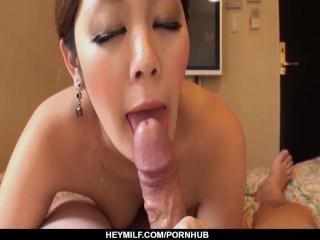 Busty milf Anna Oguri amazing cock sucking POV magic