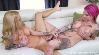 Tattooed lesbians with big tits fuck each other Boobs puba