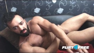 Bearded Hunk Wanks His Big Cock porno