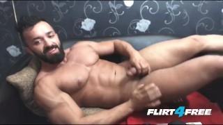 Bearded Hunk Wanks His Big Cock porno