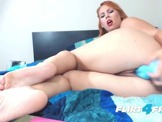 Redheaded Mistress Dominates Slave with Stockings and Feet