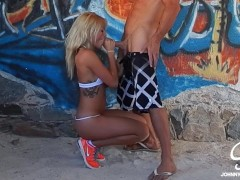 Kissa Sins First Porn, Public Fucking in Ruins and Beach w/ Johnny Sins