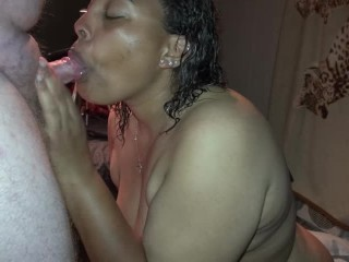 BLACK BBW TEEN GIVES BEST HEAD AND HE EATS HIS OWN CUM OFF HER TITS