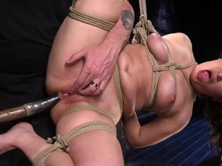 Bondage chair fuck small tits pale girl full body oil and ass jiggling butt petite oiled a