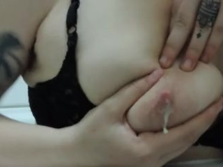 HD Milky mama literally just plays with milk filled tits in bath