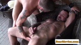 Cowboy bear ass fucked and fingered outdoors