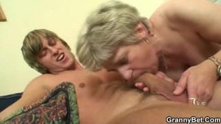 Granny gives head and gets fucked