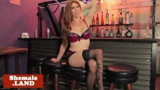 Redhead tgirl masturbating in her stockings