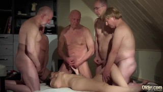 OLD YOUNG Babe Gangbang with grandpas she gets double penetrated hard fuck Teenager girl