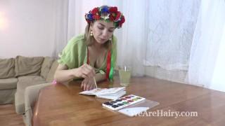 Kristinka does artwork and then masturbates sofa