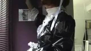 Milf takes Sissy maid big cock before he spunks on her sexy black panties Raven masturbating