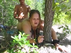Wife Tie To Tree Helpless Gets Ass Whip & Fucked Raw With Huge Facial