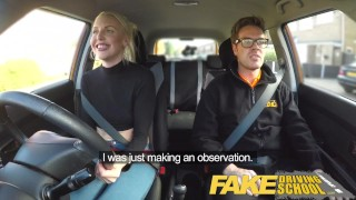 Fake Driving School lesson ends in suprise squirting orgasm and creampie  car sex natural british choking funny blowjob small tits pov english squirting car fakedrivingschool reality shaved orgasm tall girl cum inside