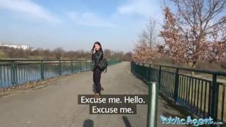 Public Agent Russian waitress fucked outside in public porno