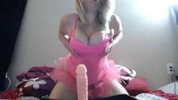 Young blonde in pink tutu does footjob/joi and masturbates in panties