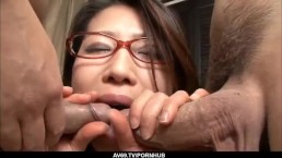 Mizuki Ogawa gets over sized cock to shag her furry holes