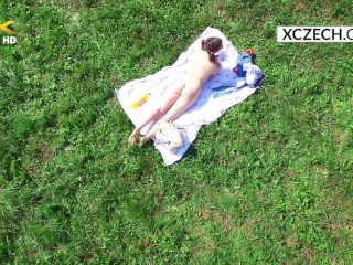 Young teen Christine is masturbating outdoor and aerial drone watching her