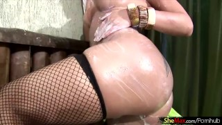 Breasts up fishnets and ass blonde big in her lathers tbabe masturbate blonde