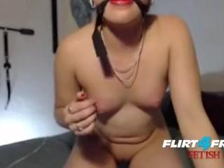 Horny Submissive Slut Ball Gag & Hitachi Torture