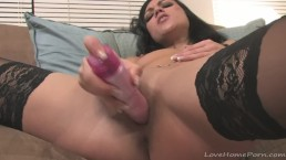 Big pink vibrator for her tight pussy