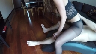 Sexy MILF Claudia fucked in pantyhose Missionary oral