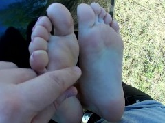 Public Footjob In Car From GF's Sexiest Feet. Cumshot On Toes