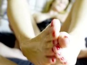 Awesome foot job. Perfect feet and huge cumshot. toejob fetish.