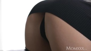 MOM Seductive French milf in sexy stockings and suspenders gets creampie Rimming girl