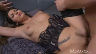 MOM Seductive French milf in sexy stockings and suspenders gets creampie Big cock