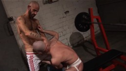 Rough Sex Hunks in Sling fuck, suck and cum