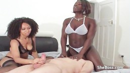 Dark & light skinned black amateur girls facesit and give handjob to Granpa