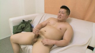 Beefy straight Japanese dude strips down and strokes his cock