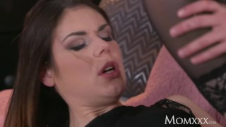 MOM Horny cock sucking and fucking brunette gets a deep creampie
