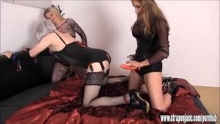 Lucky sissy slut is fucked and sucked by two horny femdoms with big strapon  ass fuck big tits big cock masturbation strapon femdom blowjob amateur cumshot domination hardcore brunette 3some mistress threesome anal straponjane adult toys