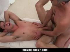 MormonBoyz-Mormon boy spitroasted during ritual threesome