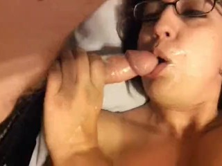 Super sloppy blowjob and facial while rubbing my meaty pussy