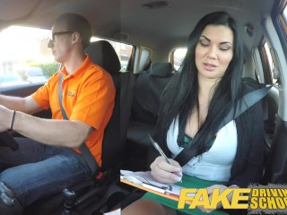 Spring Break Cunt Fake Driving School busty examiner passes excitable young man on his test