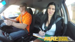 Fake Driving School busty examiner passes excitable young man on his test