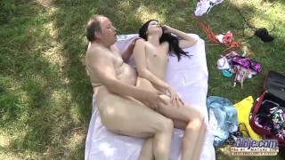 OLD YOUNG Romantic Sex Between Fat Old Man and Beautiful Teen Girl