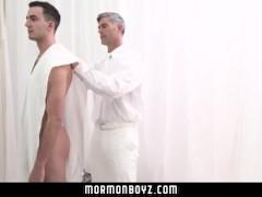 MormonBoyz- Mormon daddy fucks a missionary bareback