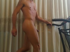 Bouncing balls and cock while running naked on a treadmill