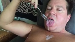 Licking My Cum From a Spoon