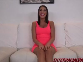 Preview 2 of August Ames takes the BIGGEST Black Cock she ever had!