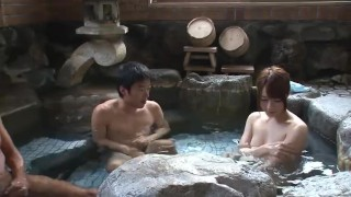 Subtitled uncensored Japanese mixed bathing threesome in HD  fellatio subtitled oral asian blowjob zenra subtitles japanese bath 3some japan threesome uncensored bathhouse onsen pale