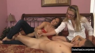 Charlee Chase Cock Jerking with Kendra Lynn