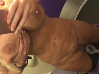 Spitting on 34JJ tits rubbing my clit