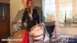 Naughty smoking blonde TGirl maid has tight ass spanked as kinky punishment