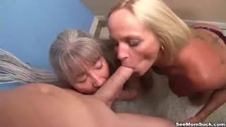 Mature ladies tag-team a dick  big cock old mom blowjob blonde pov big dick handjob milf mature mother threesome tag team seemomsuck