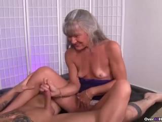 Sasha Grey Bbc Mature Slut Jerking A Young Man, Handjob Mature Milf